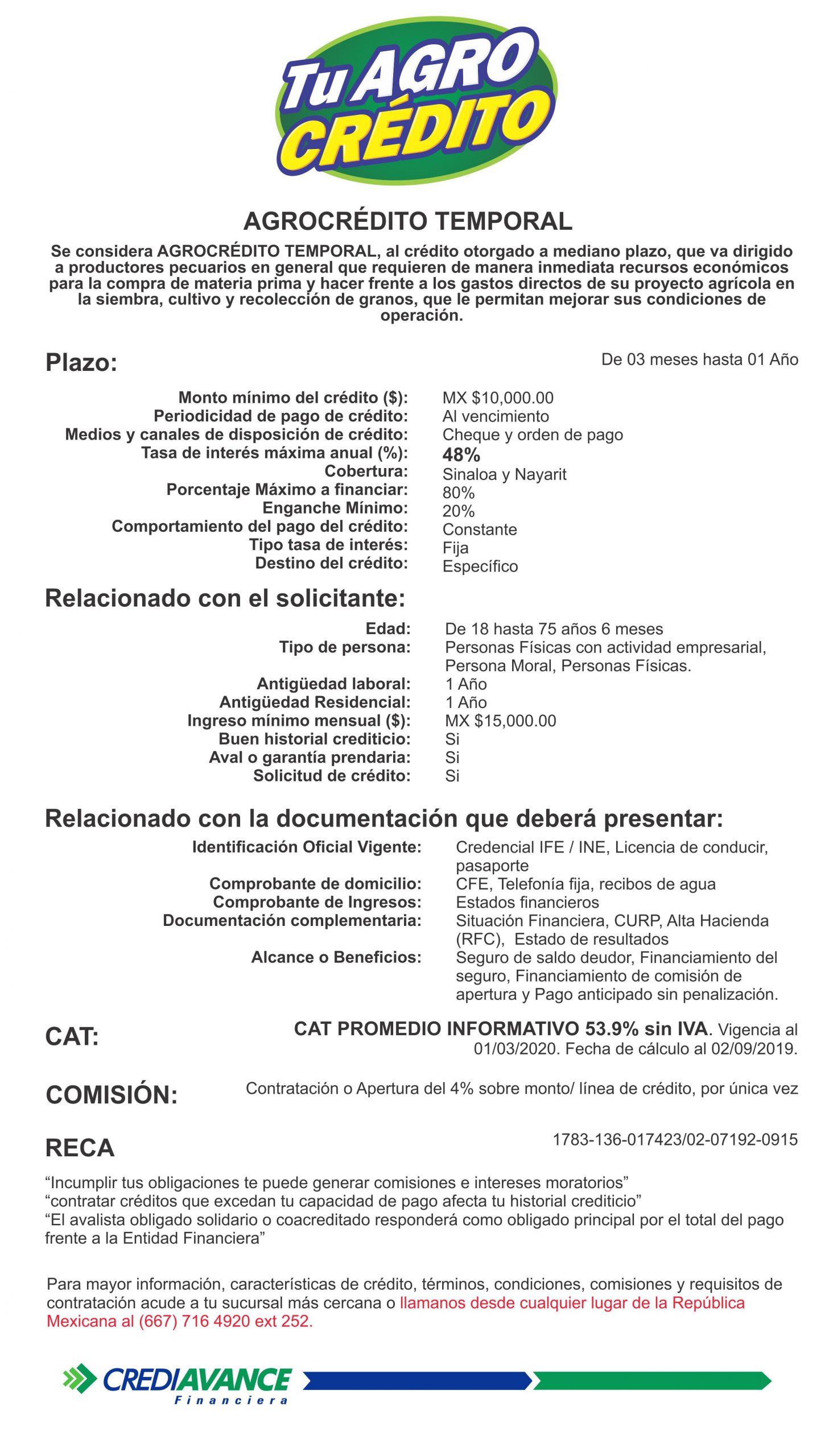 CRÉDITOS PARA AGRONEGOCIO